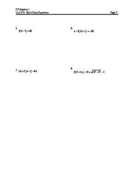 Equations 6: Solving Multi-Step Equations (Notes)