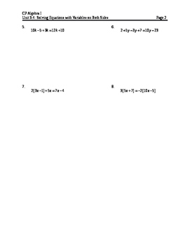 Equations 9: Variables on Both Sides (Notes)