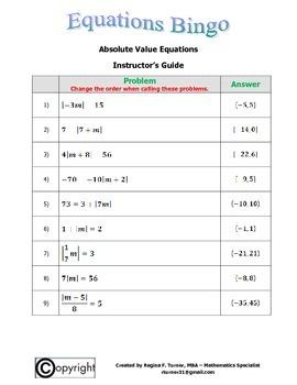 Equations: Absolute Value Equations Bingo