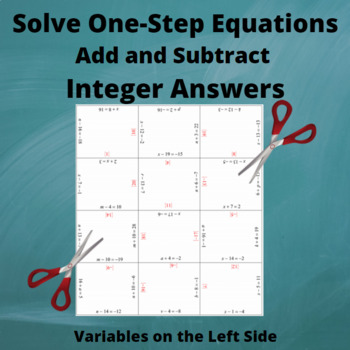 Equations: Add and Subtract: Variables on the Left side: Integer Answers