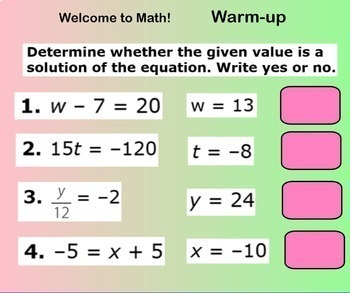 Equations Adding and Subtracting Smartboard Lesson Add Subtract Equation