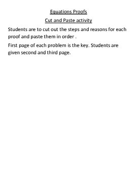 Equations Algebraic proofs Cut and Paste Activity