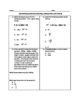 Equations Assessment