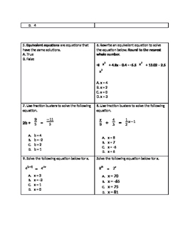 Equations Assessment