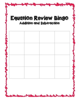 Equations Bingo Packet