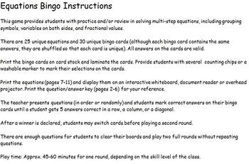 Equations Bingo Game (Solving Multi-Step Equations)