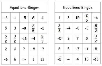 Equations Bingo Game (Solving Multi-Step Equations)