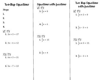 One & Two Step Equations Brochure