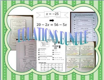 Equations Foldables plus Activities Bundle SOL(2016) 8.17