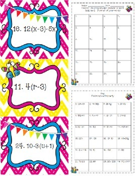 Equations - Distributive Property {Math Task Cards with Butterflies and Bunting}