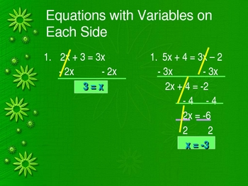 Equations--Distributive Property and Like Terms Power Point