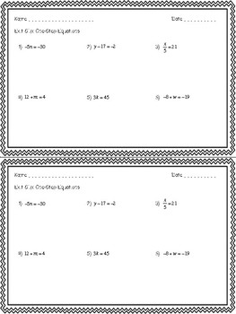 Equations Exit Slips