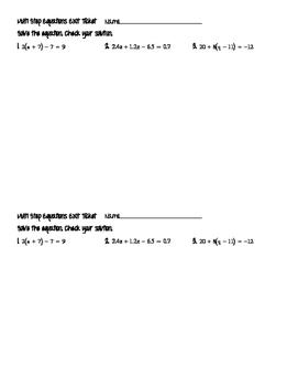 Equations Exit Ticket Bundle