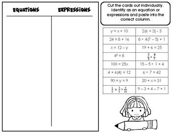 Equations & Expressions Card Sort