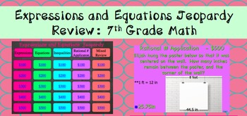 Equations & Expressions Exam, Study Guide, and Jeopardy Review Bundle 7th Grade
