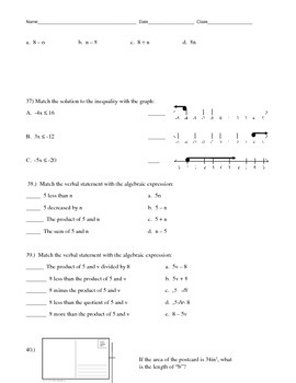 Equations, Expressions, Inequalities Review Packet