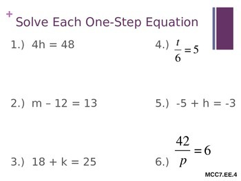 Equations, Expressions, Inequalities Warm-ups or review PPT ~ 7th grade