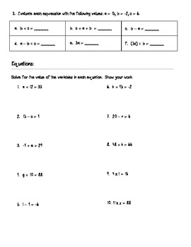 Equations & Expressions Worksheet, Quiz, or Review