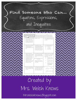 Equations, Expressions, and Inequalities: Find Someone Who