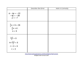 Equations: Find, Analyze, and Fix Errors