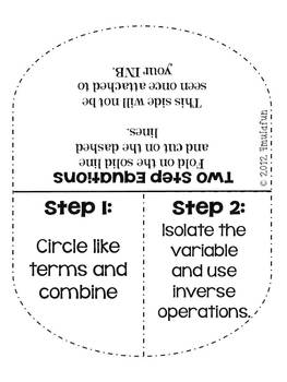Equations Flippables, Practice & Task Cards Mini Unit