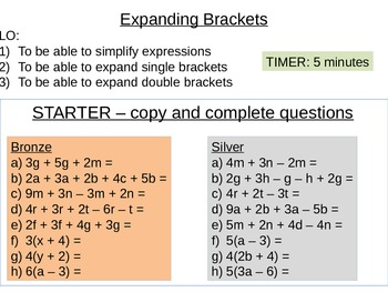 Equations, Formulae and Expressions - Expanding Brackets Lesson 2