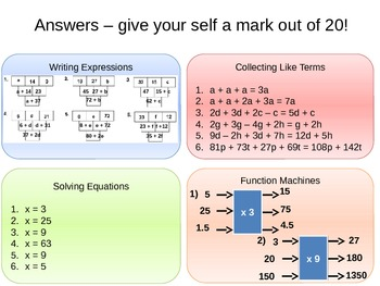 Equations, Formulae and Expressions - Simplifying Expressions Lesson 1