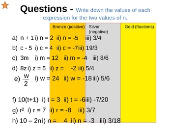 Equations, Formulae and Expressions - Substitution Lesson 3