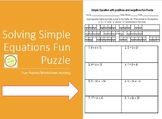 Equations Fun Puzzle - Solving Simple Equat with Positive and Negative Integers