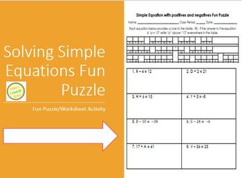 Equations Fun Puzzle - Solving Simple Equat with Positive