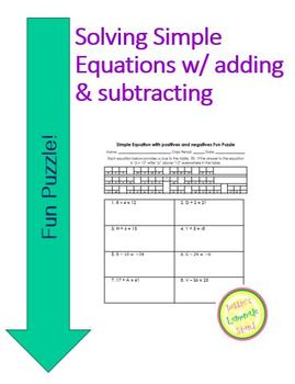 Equations Fun Puzzle - Solving Adding and Subtract one-ste