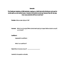 Equations Guided Practice Word Problems