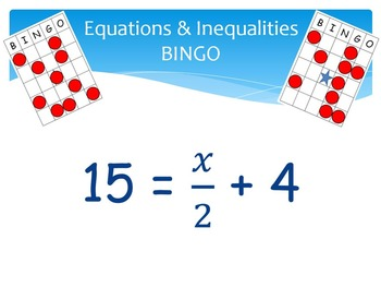 Equations & Inequalities Bingo