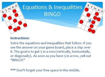 Equations & Inequalities Bingo