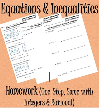Equations & Inequalities (One-Step) Homwork