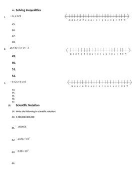 Equations, Inequalities, Scientific Notation