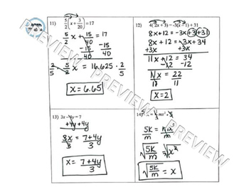 Linear Equations & Inequalities Test