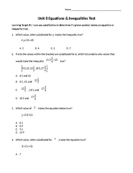 Equations & Inequalities Test