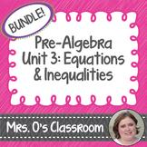 Equations/Inequalities Unit Bundle Notes, Homework, Quizzes, Study Guide, & Test