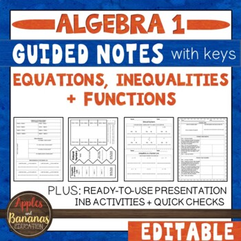 Equations, Inequalities, and Functions - Interactive Notebook Activities