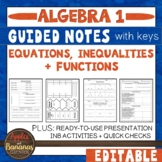 Equations, Inequalities, and Functions - Guided Notes and INB Activities