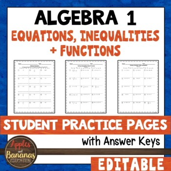 Equations, Inequalities, and Functions Student Practice Pages