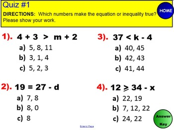 Equations & Inequalities using Substitution!  6th Grade CCSS