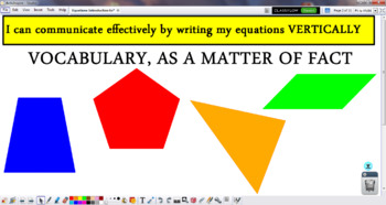 Equations: Introduction to Solving Vertically