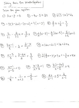 Equations Involving One Variable