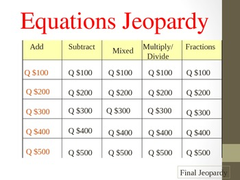 Equations Jeopardy g@me