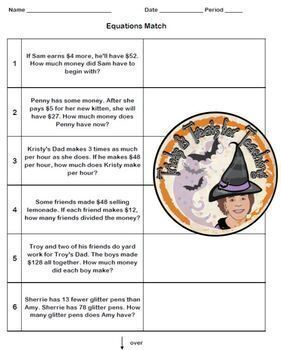 Equations Match Cut and Paste Word Problems Equation Matching Activity FUN!