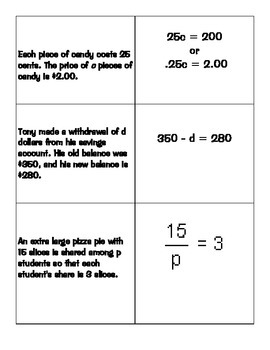Equations Match Game