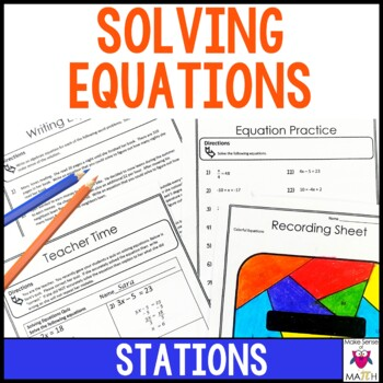 Writing and Solving Equations Middle School Math Stations