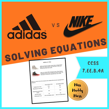 Equations Math Performance Task (Adidas and Nike)